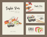 Collection of colorful flyer templates with Japanese sushi and rolls. Special dining offers, discounts and deals. Vector. Illustration for Asian restaurant or royalty free illustration