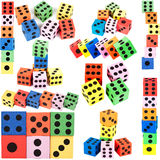 Collection of colorful foam dice Stock Photography
