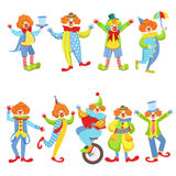 Collection Of Colorful Friendly Clowns In Classic Outfits Royalty Free Stock Photos