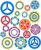 Collection of colorful gear wheels icons set. Flat vector illustration isolated on white background.  stock illustration