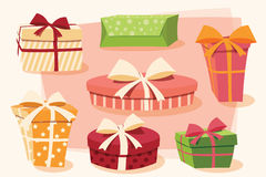 Collection of colorful gift boxes with bows and ribbons. In different shapes, vector illustration Royalty Free Stock Photo
