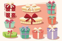 Collection of colorful gift boxes with bows and ribbons Stock Images