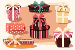 Collection of colorful gift boxes with bows and ribbons Stock Photo
