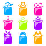 Collection of gift boxes Royalty Free Stock Images