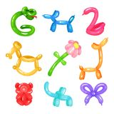 Collection of colorful glossy balloons in various shapes snake, dog, swan, horse, flower, giraffe, bear, elephant and. Bow. Inflatable children toys. Flat Royalty Free Stock Image