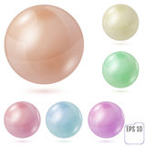 Collection of colorful glossy spheres isolated on white. Vector stock illustration