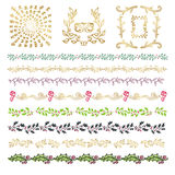Collection of colorful hand drawn decorative doodle, vintage borders and frames, branches and dividers stock illustration