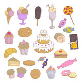 Collection of colorful hand drawn sketched linear sweets: muffins, ice cream, candies, cakes, chocolate, donuts Stock Photos