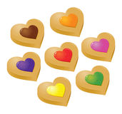 Collection of Colorful Heart Shaped Jelly Filling Cookies Stock Images