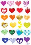 Collection of colorful hearts Stock Images