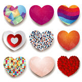 Collection of colorful hearts on white background Stock Images