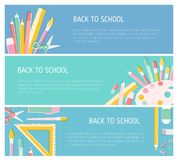 Collection of colorful horizontal web banner templates for Back To School season with place for text and decorated by. Education supplies. Vector illustration Vector Illustration