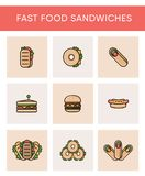 Colorful icons of different sandwiches stock illustration