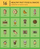Healthy fast food colorful icons. Collection of 16 colorful icons for healthy fast food or fast casual restaurant or cafe. Isolated colorful pictograms in trend stock illustration