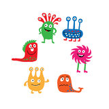 A collection of colorful isolated cute monsters Stock Photo