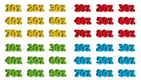 Collection of 4 colorful isolated sets of 3D percentage tags Royalty Free Stock Photo