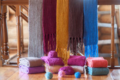 Collection of colorful knit scarfs Stock Photography