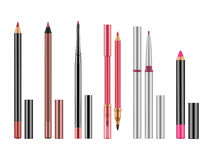 Collection of colorful lip liners. Royalty Free Stock Images