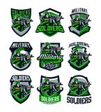 A collection of colorful logos, badges, emblems of a soldier shooting from an assault rifle. Soldier in uniform, helmet royalty free illustration