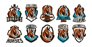 Collection of colorful logos, stickers, emblems of a horse. Beautiful stallion, horse racing, fast animal, mascot of the. Sports club. Shield, lettering, vector Stock Photography