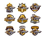 A collection of colorful logos, stickers, emblems, a knight is attacking with a sword. Gold armor of a knight, paladin stock illustration