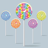 Collection of colorful lollipops Stock Image