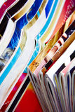 Collection of colorful magazines. A lot of Colourful magazines Stock Photo
