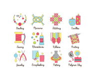 A collection of colorful modern cartoon outlined icons for various kinds of handmade, diy and craft activities. Stock Photos