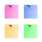 Collection of colorful note paper with push pins  Stock Photography