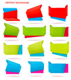 Collection of colorful origami paper banners. Stock Photos