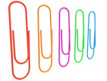 Collection of colorful paper clips. 3d. Set of red, orange, purple, green, blue paper clips. 3d render Stock Photography