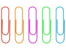 Collection of colorful paper clips. 3d. Set of red, orange, purple, green, blue paper clips. 3d render Royalty Free Stock Photo