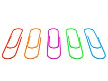 Collection of colorful paper clips. 3d. Set of red, orange, purple, green, blue paper clips. 3d render Stock Images