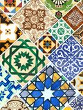 Collection of colorful patterns tiles Royalty Free Stock Photos