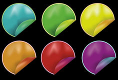 Collection of Colorful Peeling Round Stickers. Note: Gradient Meshes are used. Each sticker's elements are all grouped together separately on the same layer royalty free illustration