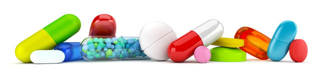Collection of colorful pills Royalty Free Stock Image