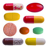 Collection of colorful pills on white Stock Photography