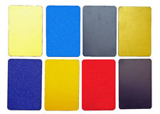 Collection of colorful plastic cards. On white background Royalty Free Stock Image