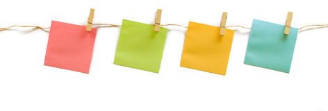 Collection of colorful post it paper note with hemp rope on whit Stock Image