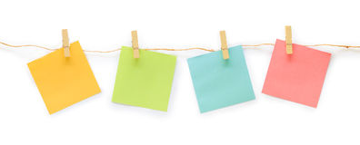 Collection of colorful post it paper note with hemp rope on whit Stock Photos