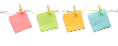 Collection of colorful post it paper note with hemp rope Stock Photo