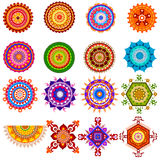 Collection of colorful rangoli pattern for India festival decoration Royalty Free Stock Photo