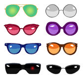 Collection of colorful  retro fashion glasses. Set of cartoon comic glasses of different famous persons Stock Images