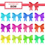 Collection colorful ribbon bows on white Stock Photography