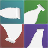 Collection of colorful ripped rolled paper,  illustration Royalty Free Stock Images