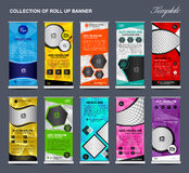 Collection of colorful Roll Up Banner Design stand template royalty free illustration