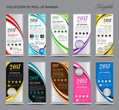 Collection of colorful Roll Up Banner stand template set stock illustration