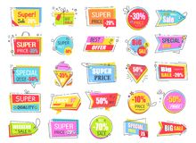 Collection of Colorful Sale Coupons and Tags Royalty Free Stock Images