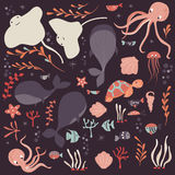 Collection of colorful sea and ocean animals, whale, octopus, stingray, jellyfish, turtle, coral Royalty Free Stock Images