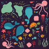 Collection of colorful sea and ocean animals, whale, octopus, stingray, jellyfish, turtle, coral Royalty Free Stock Image
